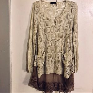 Ryu Tunic Sz M/L Lace Sweater Layered Brown Beige